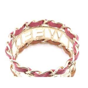 CHANEL Jewelry - Tan and Pink We Need Tweed Cuff Bangle Bracelet